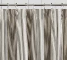 A Wide Hem Of Ruffles Adds Hint Elegance To Casual Ticking Stripes On This Pure Cotton Shower Curtain
