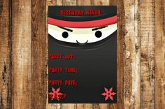 Ninja Birthday Party Invitation, Ninja Invitation, Ninja Birthday Party, Birthday Party Invitation, Invitation, Birthday Party, Ninja, Bday by AbushelandapecCrafts on Etsy