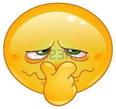 Emoticon tap ndose la nariz a causa de un mal olor Foto de archivo