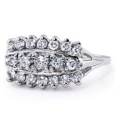 The Ravenna Ring, a dazzling triple row Retro ring | brilliantearth.com