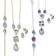 "Regularly $19.99 Sale $12.99 Colorful and crush-worthy necklace, bracelet, and earring set with oval and teardrop shaped faux stones in your choice of light blue (goldtone) or purple (silvertone).  · Necklace: 16 1/2"" L with Lobster Claw clasp and a 3 1/2"" L extender with spring ring clasp  · Bracelet: 7 1/4"" with Lobster Claw clasp and a 1"" extender  · Earrings: Pierced, approx. 1/4"" x 3/8"" with Post and Butterfly clutch  · Imported"