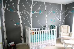 oder anders - grauer Hintergrund, Birken und türkise Vögel