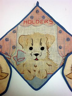 1940s Handmade Pot Holder Set Dog and Two Puppies  Applique Embroidery