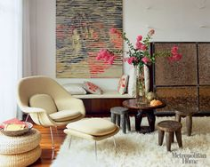 great texture & controlled use of color.  I also love clusters of similar tables and/or stools as seen here.