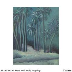 NIGHT PALMS Wood Wall Art