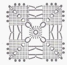 My favorite crochet granny square Crochet Doily Diagram, Crochet Motif Patterns, Crochet Blocks, Crochet Chart, Crochet Squares, Love Crochet, Crochet Designs, Crochet Doilies, Crochet Stitches