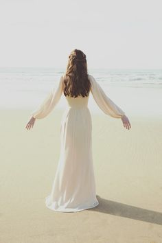 Blush Silk Bell Sleeve Gown | Alyssa Nicole Spring 2015 Collection