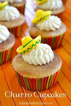 Next time you have a fiesta make sure you add these Churro Cupcakes to the dessert list. Like the snickerdoodle this cupcake is full of cinnamon flavor. Add a sombrero topper and you have a fiesta! Dessert Party, Party Desserts, Dessert Recipes, Gourmet Desserts, Baking Desserts, Plated Desserts, Cupcake Recipes, Taco Bar, Cream Cheese Frosting
