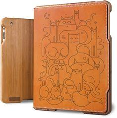 iPad Case ( Bamboo & Leather ) - Cat Power - Tan