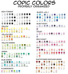 Copic organized by color by ~MuGeEeEeEeN on deviantARTSo fab! Copic organized by color by ~MuGeEeEeEeN on deviantART Copic Marker Color Chart, Copic Marker Art, Copic Pens, Copic Art, Copic Sketch Markers, Copics, Prismacolor, Copic Markers Tutorial, Copic Ciao