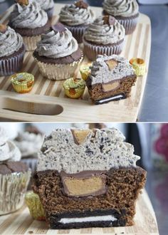 Cupcake with peanut butter cups but the kicker is the oreo frosting and a hidden oreo on the bottom. Want my daughter to make these.