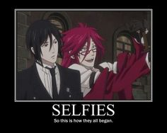 Selfies: so this is how it all began, funny, text, Grell, Sebastian; Black Butler