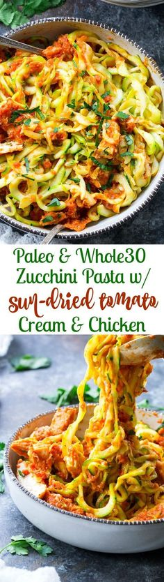 Zucchini pasta is tossed with a filling and flavor-packed, no cook creamy sun-dried tomato and scallion sauce plus perfectly cooked chicken. A tasty Paleo, Whole30 and low carb meal that's great hot or cold. Perfect for spring and summer! #runningfood