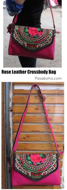 $65 ( Free Shipping Worldwide) a Pink Boho Leather Crossbody Bag from Pasaboho