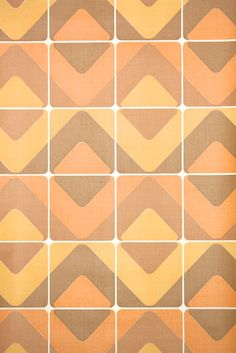 vintage retro chevron tile, vintage wallpaper from the old stock authentic roll from Hannah's Treasures Vintage Wallpaper collection Geometric Vintage Wallpaper, Retro Wallpaper, Chevron Tile, 1970s, Retro Vintage, Collection
