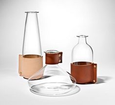 Furniture:Nice Design For Leather On Glass Bottle For Nice Decor On Table Leather Material: An Alternative Way to Add Rusticity and Glamorou...