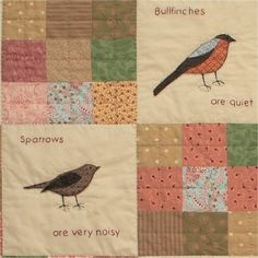 Small Brown British Birds applique quilt pattern by JanetClare