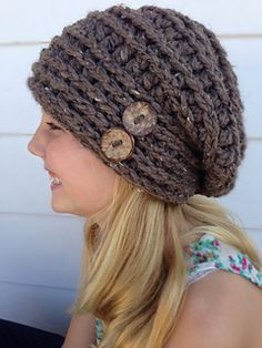 This tutorial will teach you how to crochet the McKinnon Hat all on your own. This is a great hat to wear throughout each season. Looks darling in any color. Add different colored buttons for a touch of pizazz. Diy Tricot Crochet, Bonnet Crochet, Crochet Slouchy Hat, Knit Or Crochet, Crochet Crafts, Crochet Stitches, Crochet Projects, Knitted Hats, Slouch Hats