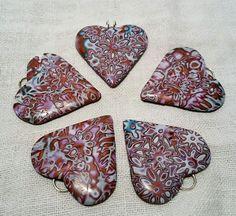 Mokume gane hearts, polymer clay