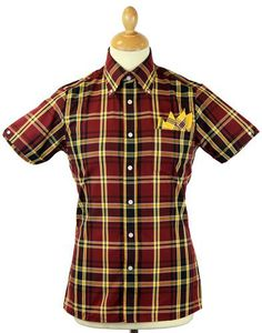 BRUTUS TRIMFIT for Dr Martens Mod Tartan Check Shirt in classic and familiar oxblood/yellow. A limited edition collaboration shirt between two iconic brands. Shirt available now from Atom Retro: http://www.atomretro.com/product_info.cfm?product_id=12781