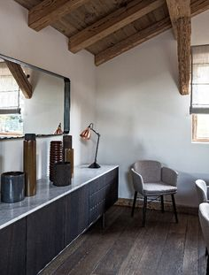 Gorgeous Chalet in Mégève France 10 Wooden Facade, Black Floor Lamp, Grey Curtains, Wood Beams, Copper Lamps, Interior Exterior, Modern Room, Rustic Interiors, Wood And Metal