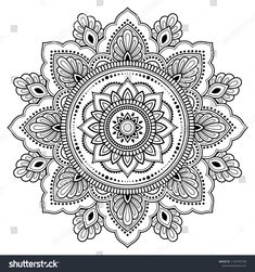 Circular pattern in form of mandala for Henna, Mehndi, tattoo, decoration. Decorative frame ornament in ethnic oriental style. Coloring book page. Mandala Design, Mandala Pattern, Zentangle Patterns, Mandala Coloring Pages, Colouring Pages, Coloring Books, Mandala Doodle, Mandala Drawing, Paisley Doodle