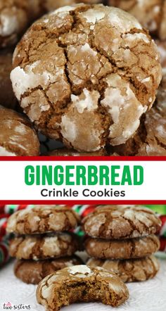 Gingerbread Crinkle Cookies Gingerbread Crinkle Cookies are light, fluffy and spicy on the inside and sweet and crunchy on the outside. A yummy homemade Gingerbread cookie recipe. - Gingerbread Crinkle Cookies - Two Sisters Classic Christmas Cookie Recipe, Easy Holiday Cookies, Holiday Cookie Recipes, Christmas Baking Ideas Cookies, Easy Gingerbread Cookies, Gingerbread Recipes, Christmas Cookie Exchange, Easy Cookie Recipes, Christmas Ginger Cookies