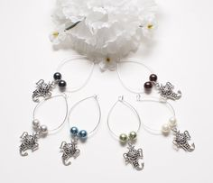 Set of Six Silver Plated Elephant and Pearl Wine by StringOfLuck, $14.00