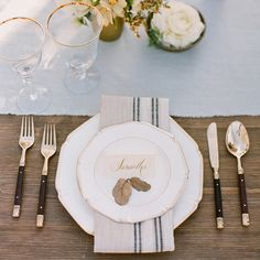 Sophisticated Wedding Inspiration via oncewed.com #wedding #reception #placesetting #classic #white #green #elegant #details