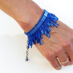 Electric Blue Bugle and Vintage Bead Fringe on Leather Bracelet - Arkadaşlik bilekliği - Beaded Jewelry Designs, Bead Jewellery, Seed Bead Jewelry, Geek Jewelry, Diy Jewelry, Gothic Jewelry, Metal Jewelry, Jewelry Necklaces, Beaded Braclets