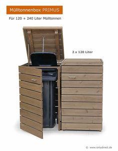 Mülltonnenbox PRIMUS für 120 und 240 Liter Mülltonnen - Extra stabile Ausführung - Asiatische Zeder (FSC) Bin Shed, Storage Bins, Terrazzo, Outdoor Furniture, Outdoor Decor, Outdoor Storage, Shelter, Gazebo, Recycling