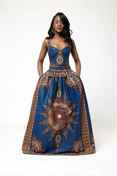 Blue Dasmina Set by Grassfieldss on Etsy ~African fashion, Ankara, kitenge… African Inspired Fashion, African Print Fashion, Africa Fashion, Ethnic Fashion, Look Fashion, Fashion Prints, Womens Fashion, African Print Dresses, African Fashion Dresses