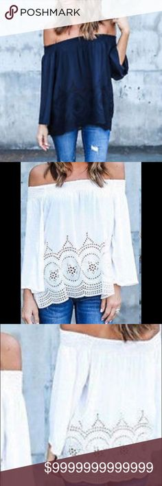 ❤️COMING SOON❤️Black off the shoulder w/lace 3xl Black off the shoulder cotton top w/lace detail Tops Blouses