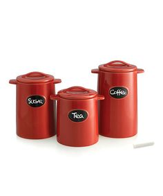 Take a look at this Red Chalkboard Canister Set by Jay Import on #zulily today!