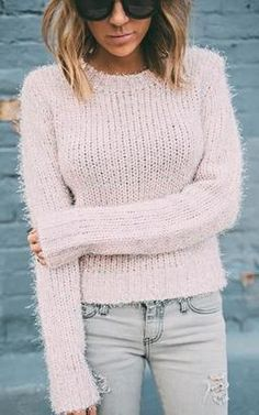 Ily Couture Blush Textured Sweater - Shop for women's Sweater -  Sweater