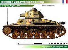 Hotchkiss H-35 light tank (introduction - 1936; armor - 34 mm; gun - 37 mm SA 18; speed - 28 km/h; produced - 1200)