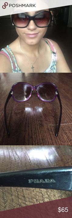Prada black large sunglasses Beautiful Prada sunglasses. Black outside, purple inside. Has minor scratches. Will bundle. Will consider offers. Prada Accessories Glasses