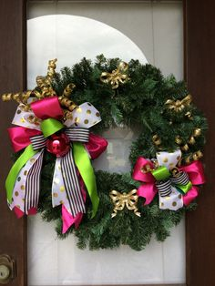 Holiday wreath ~ K.S. style bright colors by AnnesAdoorables on Etsy