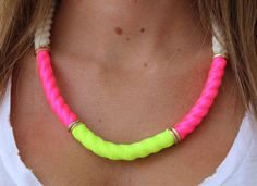 Neon Statement Necklace  Rope Necklace  by lizaslittlethings, $27.00