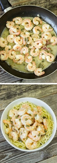 Shrimp Piccata - Shrimp is coated in a sauce made of lemon juice, white wine, capers, parsley, and butter.
