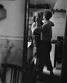 """Available for sale from Magnum Photos, Elliott Erwitt, """"Couple dancing"""" (Valencia, Spain) Signed silver gelatin print (photographer's signature on … Dancing In The Kitchen, Robert Frank, Valencia Spain, Lets Dance, Romantic Dinners, Romantic Recipes, Swing Dancing, Belle Photo, Black And White Photography"""