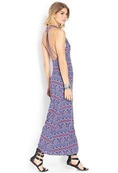 Easy and lightweight, this maxi dress features a boho-inspired pattern and a strappy cutout back....