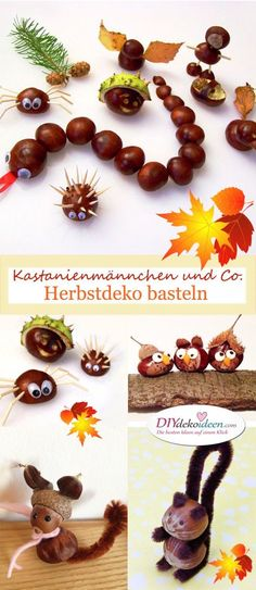 Chestnuts and Co. - Fall decorations with chestnuts .- Kastanienmännchen und Co. – Herbstdeko basteln mit Kastanien und Nüssen Chestnuts and Co. – Fall decorations with chestnuts and nuts - Autumn Crafts, Fall Crafts For Kids, Nature Crafts, Diy For Kids, Kids Crafts, Diy And Crafts, Craft Projects, Diy Upcycled Art, Upcycled Furniture
