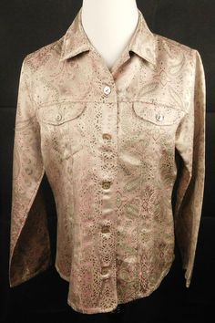 Chico's Embroidered Paisley Floral Top  8( Med) Mauve/Pink/Green/White(#192) #Chicos #ButtonDownShirt #CasualEvening
