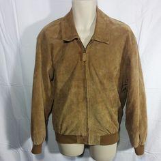 LL Bean Men's Tan Suede Leather Zip Aviator Bomber Jacket Light Lined Coat-M #LLBean #FlightBomber