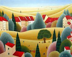 View of the Tuscan Countryside by Cesare Novi - GINA Gallery of International Naive Art