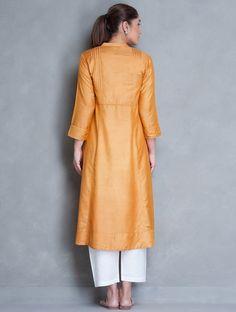 Ochre Silk Cotton Pleated Yoke Kurta by Jaypore
