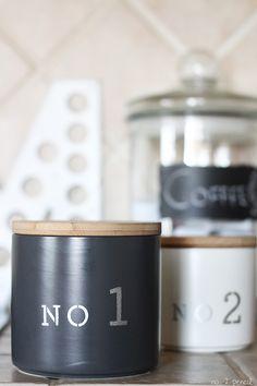 DIY stenciled kitchen canisters #marthastewartcrafts