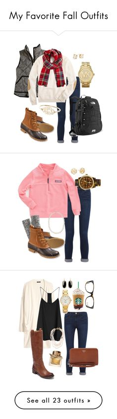 """""""My Favorite Fall Outfits"""" by robramey17 ❤ liked on Polyvore featuring Frame Denim, J.Crew, L.L.Bean, The North Face, Kate Spade, Michael Kors, Baldwin, Vineyard Vines, Alex and Ani and Ray-Ban"""
