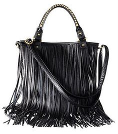 Black Fringe Purse From Hm Vintageeal Fashion Accessories